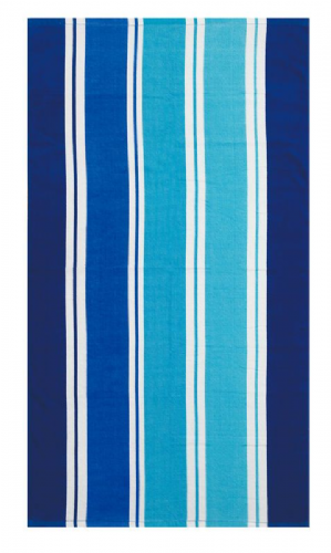 LARGE COTTON VELOUR BEACH HOLIDAY TOWEL '' MILLER STRIPE BLUE DESIGN ''
